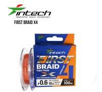 Шнур плетений Intech First Braid PE X4 Orange 100м
